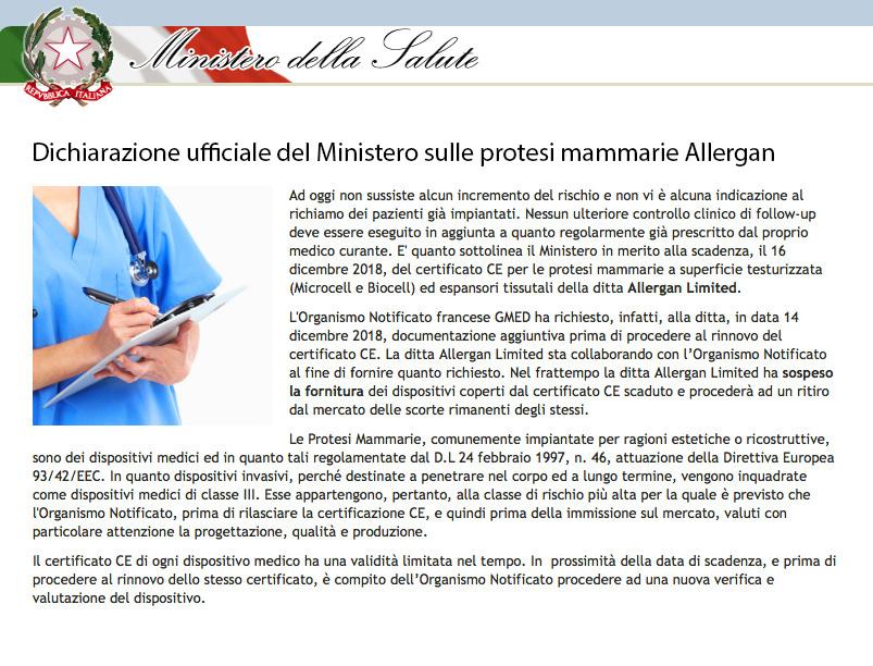 allergan-governo-dichiarazione Le Protesi Seno